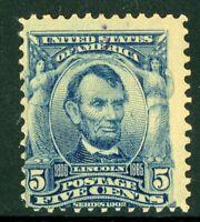 USA 1902 Lincoln 5¢ Blue Scott # 304 Mint I938 ⭐⭐⭐⭐⭐⭐