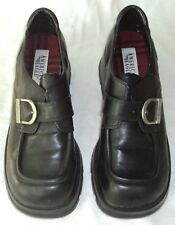 Black American Eagle Leather Shoes 9 1/2 M Buckle