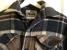 WOOLRICH  Medium Wool Plaid Shirt Jacket Hunting Barn Coat VTG 70s Brown Outdoor