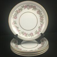 Set of 4 VTG Bread Plates by Noritake 5433 Dark Pink and Gray Floral Japan