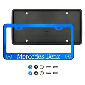Merced3s Benz Laser Etched Blue 304 Stainless Steel License Frame Silicone Guard