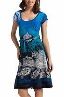 DESIGUAL Kleid Sommerkleid Vest Liz NEU S/34/36, M/38  Tshirtkleid blau-türkis