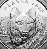 ALASKA MINT OFFICIAL STATE 1993 WOLF 1 OZ .999 SILVER COIN Round SERIAL#