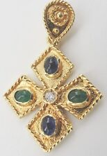 "18K Yellow Gold Sapphire Emerald Cross Pendant Accent Diamond 1.25""  Religious"