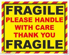 2 x FRAGILE handle with care vinyl adhesive post packing label decal sticker