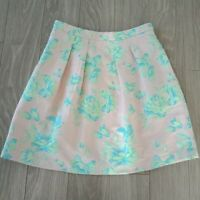 Marcs Womens Skirt Pleated Above Knee Lined Floral Pink Turquoise  Size 8