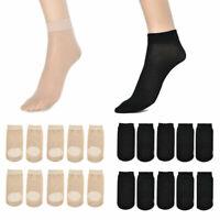10 Pairs Women Nylon Elastic Short Ankle Sheer Stockings Cotton Silk Short Socks