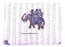 Elephant Print Indian Twin Kantha Quilt Bedspread Blanket Bedding Throw Handmade