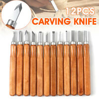 12Pcs Wood Carving Blade Steel Chisels Tool Woodcut Woodworking Craft Kit Set