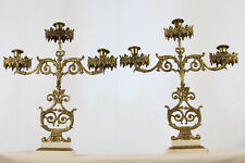 Antique Pair French Brass Girondels Candelabras 19th Century