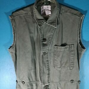Vintage 80s Sleeveless Coveralls Jumpsuit Button Up 1986 Men's Medium Military