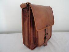 "Real Brown Leather Messenger Bag A4/12"" MacBook School Crossbody Shoulder Bag"