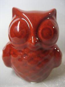 Cute burgundy ceramic owl figurine