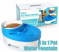 Pet Water Bowl Food Feeder Dog Waterfall Drinking Fountain automatic