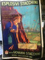 Manifesto pubblicitario d'epoca Barabino & Graeve,1929 ESPLOSIVI STACCHINI