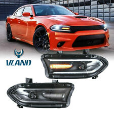 Pair Led Dual Beam Projector Headlights For 2015-2020 Dodge Charger Front Lamps