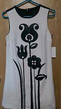 Victoria Beckham para Vestido Negro Blanco S Target imitación cuero Floral Etiquetas Nuevas