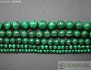 "Grade AAA Natural Malachite Gemstone Round Beads 4mm 6mm 8mm 10mm 12mm 15.5"""