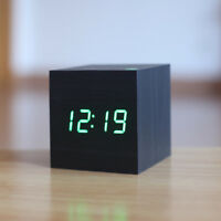 Cube wooden LED Alarm Clock,despertador Temperature Sounds Control LED display.