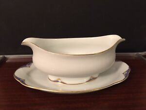Tettau  porcelain Gravey Boat With Attached Underplate Deco Design