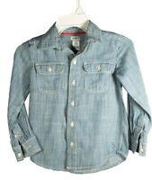Carter's Boys Size 5 Striped Button Down Long Sleeve Shirt Blue White Stripe