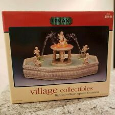 New Lemax Lighted Village Square Fountain Christmas Holiday Water Feature 14663W