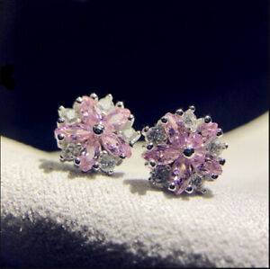 2Ct Marquise Cut Pink Sapphire Cluster Stud Earrings in 18K White Gold Finish