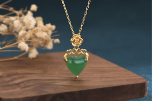 Natural Jade Crystal Jewelry Pendant with Chain Necklace Emerald Color