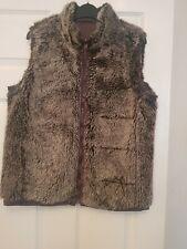 Women's Reversible Gilet body warmer Size 12 Purple Faux Fur Additions pockets