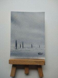 ELW Original, Aceo Cards.  Racing sails. Seascape