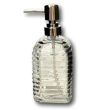 Soap Dispenser Decorative Glass Ribbed Textured Countertop Silvertone 13 oz