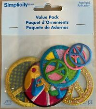 Peacesymbols 7pack52mm,49mm,44mm,25mm Iron On EmbroideredApplique Patch Badge