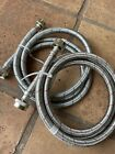 EASTMAN 6 Feet Steel Flex Washing Machine Connector Hoses (2-Pack) Hot & Cold photo