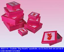 Set 8 scatole regalo quadrate San Valentino cm22 con coperchio disegno cuore