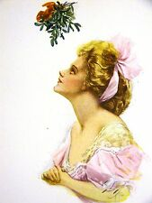 Harrison Fisher Girl UNDER the CHRISTMAS MISTLETOE 1912 Antique Art Print Matted