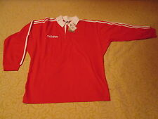POLO DE RUGBY ADIDAS RED ROUGE w/ WHITE STRIPES TREFOIL RR