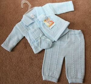 Will'beth Newborn Reborn Baby Boys Blue Knit Take-Me-Home w/Booties Sz 0 NWT