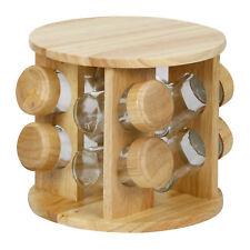 Rubberwood Revolving Rotation Spice Rack with 8-Piece Glass Spice Jars
