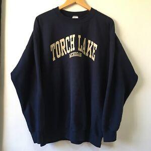 Retro Style Black USA Tourist Sweatshirt Size XL Torch Lake Michigan