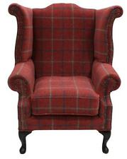 Chesterfield Saxon Queen Anne High Back Wing Chair Lana Terracotta Check Fabric