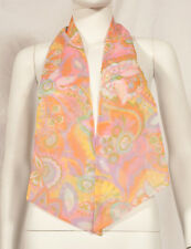 "60'S FRENCH VINTAGE TWO LAYERS LONG PRINT SCARF 52"" x 6"""