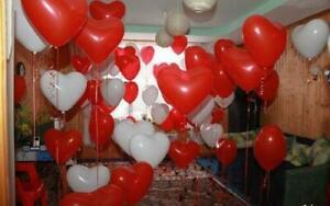 10-100 pcs Heart Shape Red White Balloons Valentines Decor Celebrations baloons