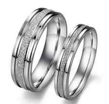 Stainless Steel 316L Silver Frosted Promise Ring Couple Wedding Band