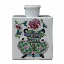 Handmade Colorful Painting Flower In Vase Rectangular Porcelain Tea Jar n227