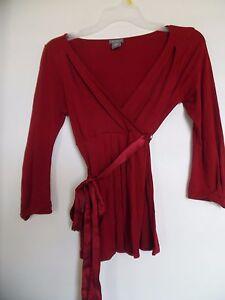 ANN TAYLOR LOFT WOMEN Long Sleeve Red  top Shirt Wrap Sz XSP