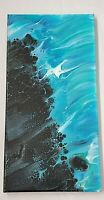 """""""Blue Obsidian"""" Acrylic Fluid Swipe Painting 20x10 Stretched Cotton Canvas"""