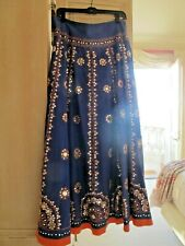 BOHO Soft Surroundings  Gypsy long skirt. Purple,Coral with sequins. Size sm