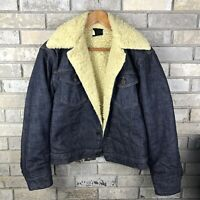 Sears Roebucks Western Denim Jean Jacket Mens 38 Reg Vintage Sherpa Vtg USA Rare