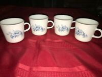 5 CORELLE CORNING COLONIAL MIST Milk Glass Coffee Mug Tea Cup Blue White Floral