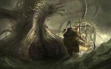Incorniciato stampa-GIGANTE SEA MONSTER combatte una vecchia BARCA A VELA NAVE (PICTURE POSTER)